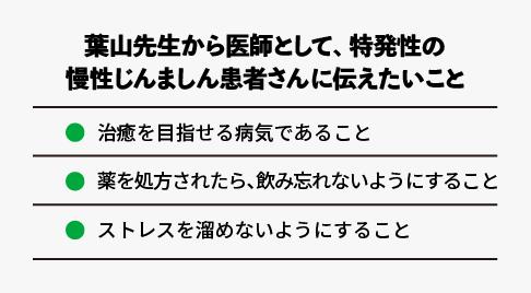葉山先生から医師として、特発性の慢性蕁麻疹患者さんに伝えたいこと
