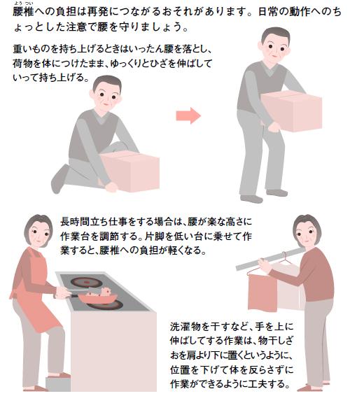 腰部脊柱管狭窄症では日常生活の工夫がたいせつです